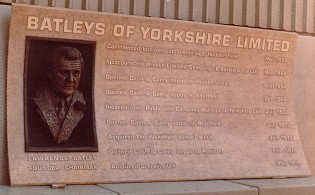 Rectangular panel featuring the Lawrence Batley sculpture